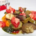 Ratatouille froide et son pesto à l'huile d'olive